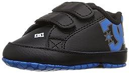 DC Court Graffik Lowtop Skate Shoe (Infant/Toddler), Black/Blue/White, 2 M US Infant