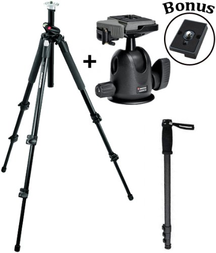 Manfrotto 190XPROB 496RC2 Tripod/Head Kit with a Monopod and a Bonus Quick Release Plate for the RC2 Rapid Connect Adapter