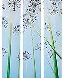 IKEA 3 Stück Schiebegardine EMELINA (Blume, Blau/Lila), Maße je Vorhang 60x300 cm, ohne Schiene