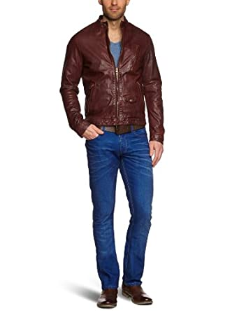 Scotch & Soda Men's Biker Jacket, Red, Small