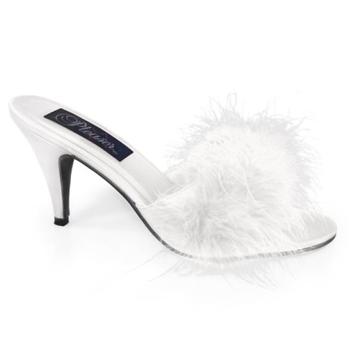 Cheap 3 Inch Classic Marabou Slipper Faux Fur Sexy Shoes White Satin (PAMO03WSAT)