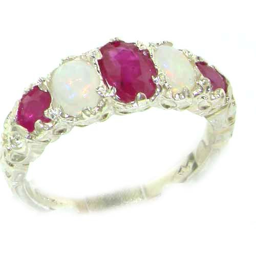 High Quality Solid Sterling Silver Natural Ruby & Opal English Victorian Ring - Size 12 - Finger Sizes 5 to 12 Available - Suitable as an Anniversary ring, Engagement ring, Eternity ring, or Promise ring