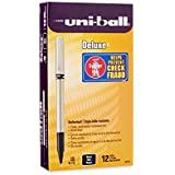 uni-ball Deluxe Fine Point Roller Ball Pens, 12 Black Ink Pens (60052)