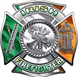 Fire Department Maltese Iron Cross Irish Firefighter Decal - 12' h - 'View Thru'