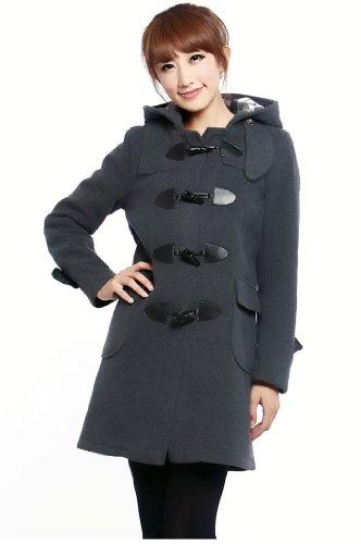d54145c7631 SGG Woolen Coat Hooded Winter Horn Button Trench Coat Women Large Grey