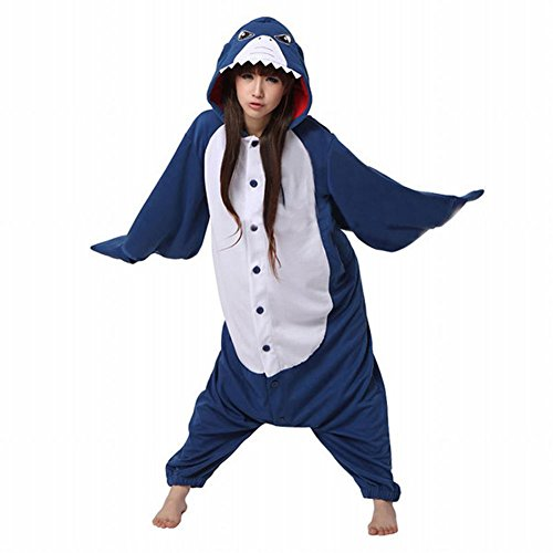 SaiDeng Warm Unisex-adult Kigurumi Onesie Clothing Adult Cosplay Style Pajamas Size XL Shark (Kigurumi Shark compare prices)