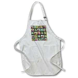 apr_44408_4 Lee Hiller Designs Colorful Sock Monkeys - Colorful Sock Monkeys Squares I - Aprons - BLACK Full Length Apron with Pockets 22w x 30l