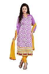 Parinaaz Fashion Levender Chandari Straight unstitched salwar suit