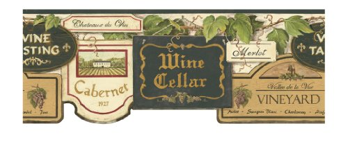 York Wallcoverings Europa Ii Wine Sign Prepasted Border, Cream/Black/Tan/Gold front-251049