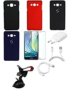 NIROSHA Tempered Glass Screen Guard Cover Case Charger USB Cable Mobile Holder for Samsung Galaxy ON7 - Combo