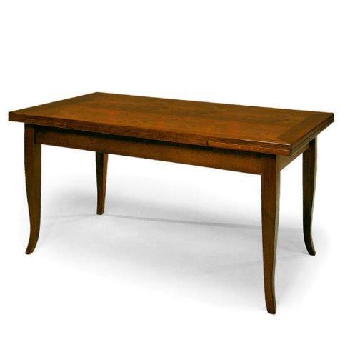 CLASSICO tavolo da pranzo con 2 allunghe da 40 cm finitura color noce 489 160x85