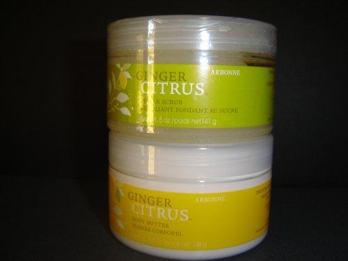 Arbonne Ginger CitrusTM Body Butter & Sugar Scrub Exfolient Set