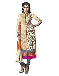 Prafful Cream Chanderi Cotton Embroidered Unstitched Dress Material