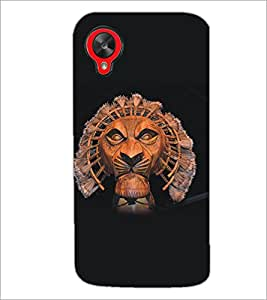 PrintDhaba Lion D-5135 Back Case Cover for LG GOOGLE NEXUS 5 (Multi-Coloured)