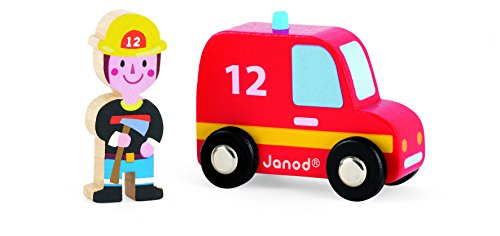 Janod Story Set City Firefighter Truck and Firefighter - 1
