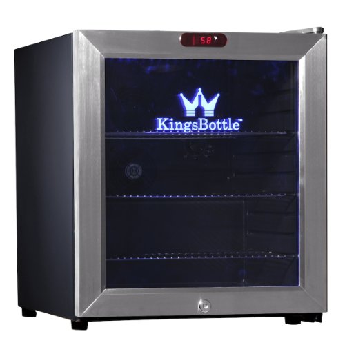 KingsBottle 38 Can Bar Fridge with Glass Door, Mini, Stainless Steel (Mini Beverage Bottles compare prices)