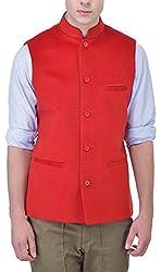 JAPCIS Men's Woollen Waistcoat (978_RED_L, Red, L)