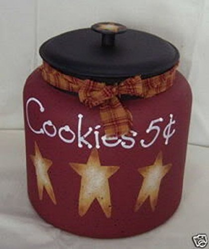 Cookies 5 Cents Country Stars Cookie Jar/Centerpiece (Primitive Cookie Jar compare prices)