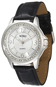 XOXO Women's XO3181 Rhinestone Accent Dial Black Crocodile Strap Watch