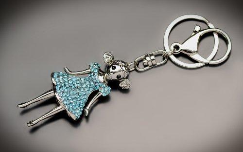Schlüsselanhänger Puppe 3d mit Inspiration von Swarovski Kristallen, in einer Box Herz , Q114154