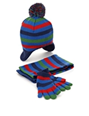 3 Piece Striped Hat, Scarf & Gloves Set