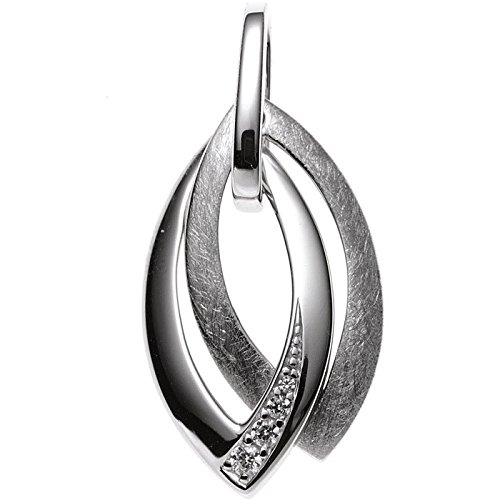 Pendant made of 333gold white gold Spitzoval Partially Matte with Gold Silver Pendant