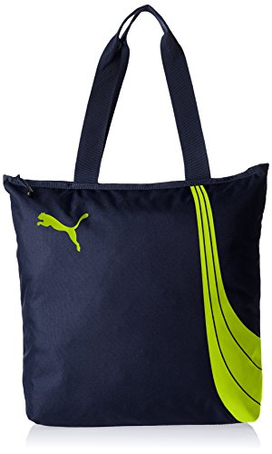 Puma Fundamentals - Borsa/shopper da donna , Donna, Tasche Fundamentals Shopper, Peacoat/Limepunch, 36 x 8 x 41 cm, 17.5 liter