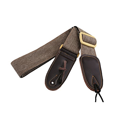 mugig-guitar-strap-polyester-wide-personality-with-leather-end-for-bass-guitar-electric-guitar-khaki