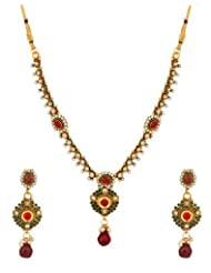 Voylla Traditional Gold Plated Necklace Set Decorated With Shiny CZ And Colored Stones