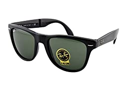 Ray-Ban FOLDING WAYFARER - BLACK Frame CRYSTAL GREEN Lenses 54mm Non-Polarized