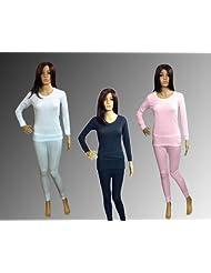 Womens Jacquard Rib Thermal Underwear Set, Long Sleeve Vest & Long ...