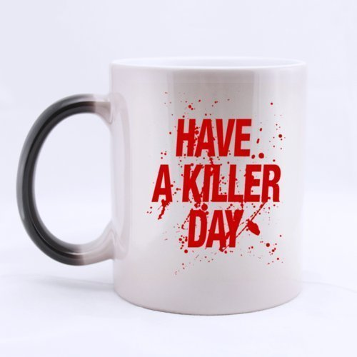 "Cool Blood Design ""HAVE A KILLER DAY"" 11 OZ Morphing Mug Heat Sensitive Color Changing 100% Ceramic Coffee/Tea Cup Morphing Mugs"
