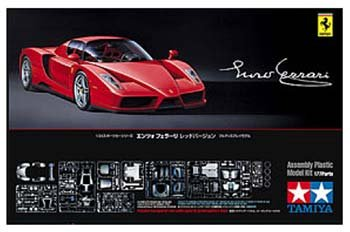 Enzo Ferrari Sports Car w/Carbon Pattern Decals (Molded in Red) 1/24 Tamiya