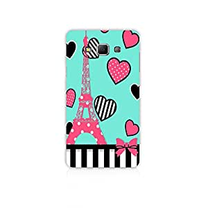Mikzy Eiffel Tower With Hearts Around Printed Designer Back Cover Case for Samsung A7 (Multicolour)