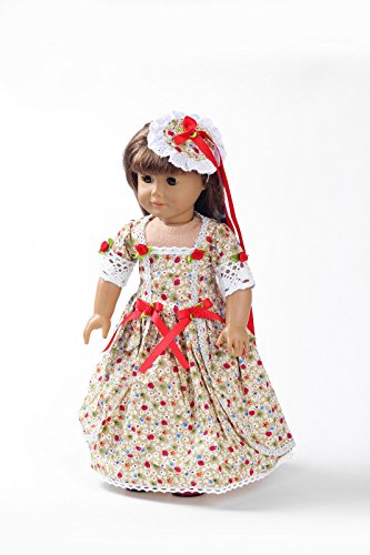 Teenitor(TM) Khaki Flower Pattern Long Dress Fits 18 Inch Girl Dolls (Shipping By FBA)