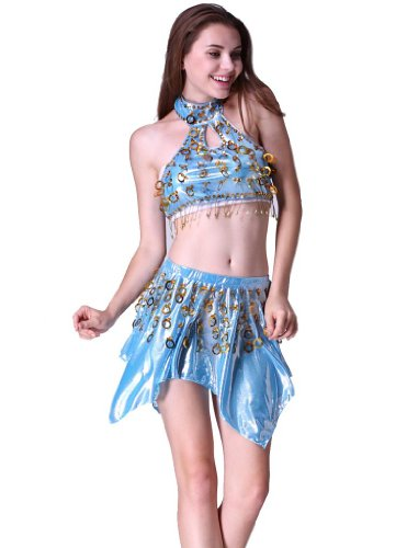 Feimei Women's Latin Dance Top And Short Skirt 2pcs/set