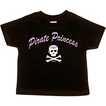 TODDLER T-SHIRT : BLACK - 2T - Pirate Princess - Girly Skull and Crossbones