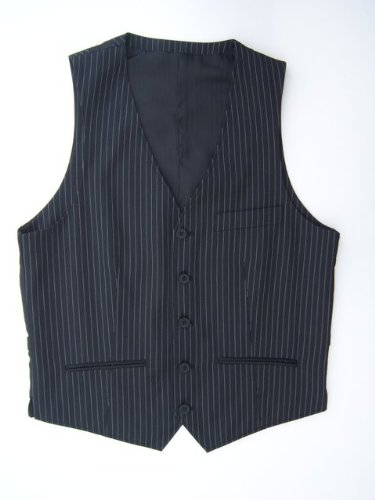 Mens Black Pin Stripe 5 Button Waistcoat