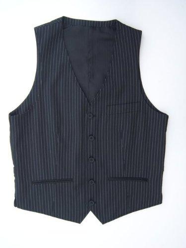 Mens Black Pin Stripe 5 Button Waistcoat