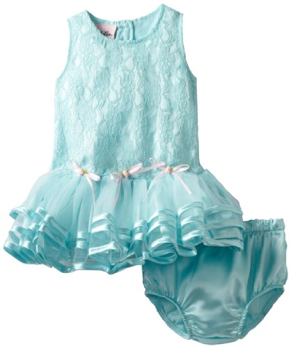 Little Lass Baby-girls Infant 1 Piece Knit Dress, Turquoise, 12 Months