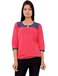 MSONS Women's Red Dot Printed Tunic In Cotton Fabric