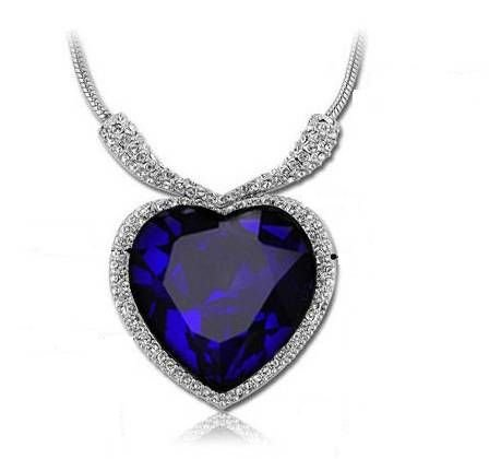 18ct White Gold Plated Heart of the Ocean Pendant Necklace Inspired by Film the Titanic with Swarovski Crystals Sapphire (Gift Pouch Included) Elegant Crystal Jewellery