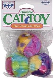 Vo-Toys Plush n Fuzz Balls 3 pack Cat Toy