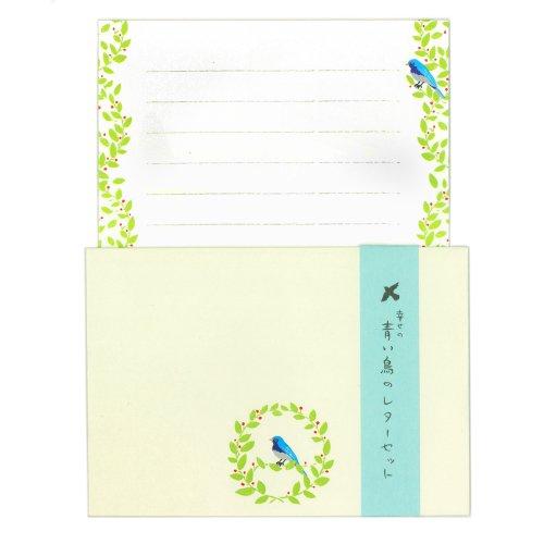 表現社 レターセット(幸せの青い鳥のレターセット) 美濃和紙便箋6枚・封筒3枚入 No.23-184