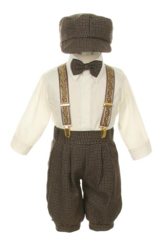 Vintage Dress Suit-Bowtie,Suspenders,Knickers Outfit Set for Baby Boys & Toddler, Houndstooth-18 Months