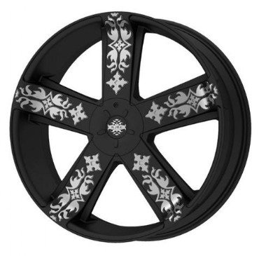 "Kmx Wheels Ink'D Km6697 Matte Black Machined Wheel (22X8.5""/5X115Mm)"