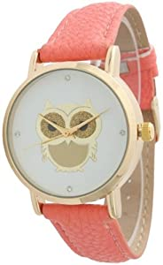 Ladies Owl Design Leather Watch - Coral