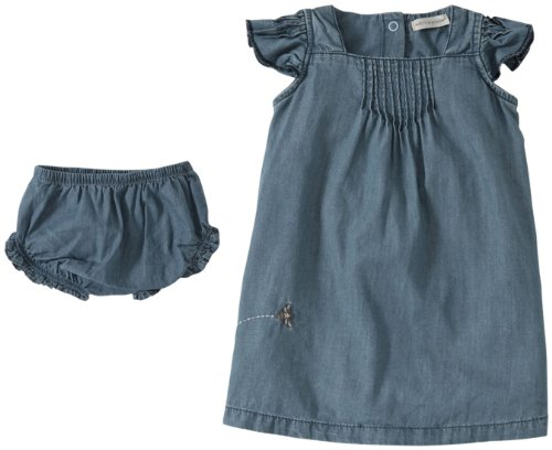 Burt'S Bees Baby Baby Girls' Pintuck Dress + Diaper Cover (Baby) - Chambray - 3-6 Months front-917690
