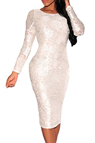 Happy Sailed Women's Elegant Roses Long Sleeves Cocktail Tight Midi Dress, Large White