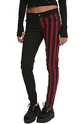 Royal Bones By Tripp Red & Black Stripes Split Leg Skinny Jeans
